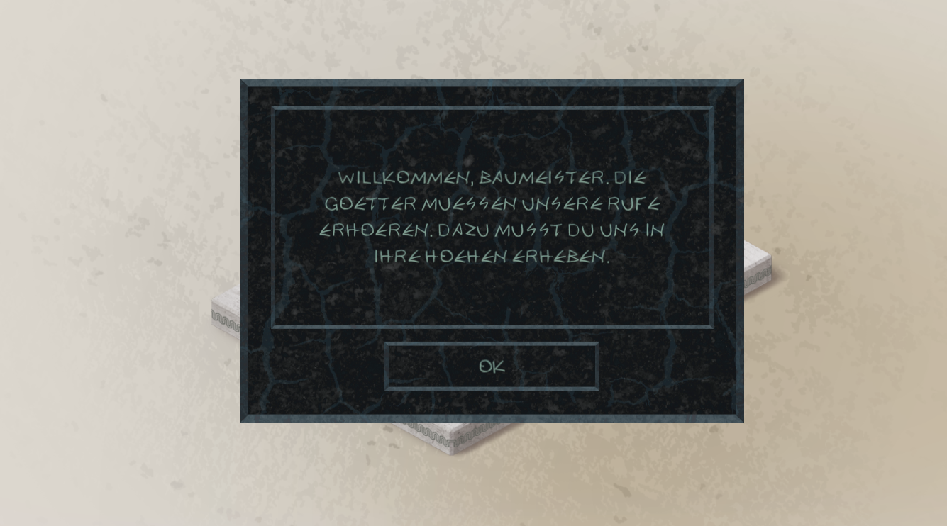 In-game message in German